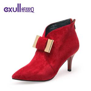 依思Q新款个性搭扣时尚细跟女短靴