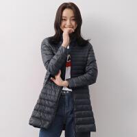 yaloo/雅鹿2017新款轻薄修身中长款羽绒服轻型羽绒女立领秋冬外套