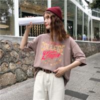 2019夏季学院风韩版宽松印花字母学生上衣短袖T恤女100%纯棉