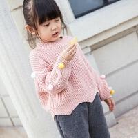 儿童毛衣女秋冬新款圆领套头纯色百搭纯棉宽松休闲女童针织衫