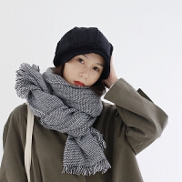 百搭仿羊绒围巾韩版女冬季格纹保暖披肩学生日系加厚围巾