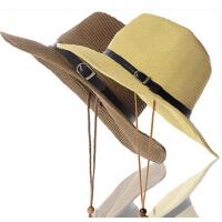 大沿钓鱼帽大号沙滩帽凉帽 遮阳帽夏天户外太阳帽草帽子男士