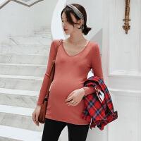 孕妇打底衫中长款针织衫韩版怀孕期潮妈长袖孕妇秋装上衣2018新款