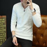 秋季毛衣男韩版修身男装毛衫V领线衣秋装长袖针织打底衫