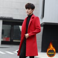 风衣男冬季新款男士修身国潮青少年大衣长款外套男装加厚大红