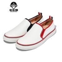 米乐猴 潮牌夏季男士板鞋小白鞋男休闲鞋英伦套脚懒人鞋白色潮鞋子男鞋