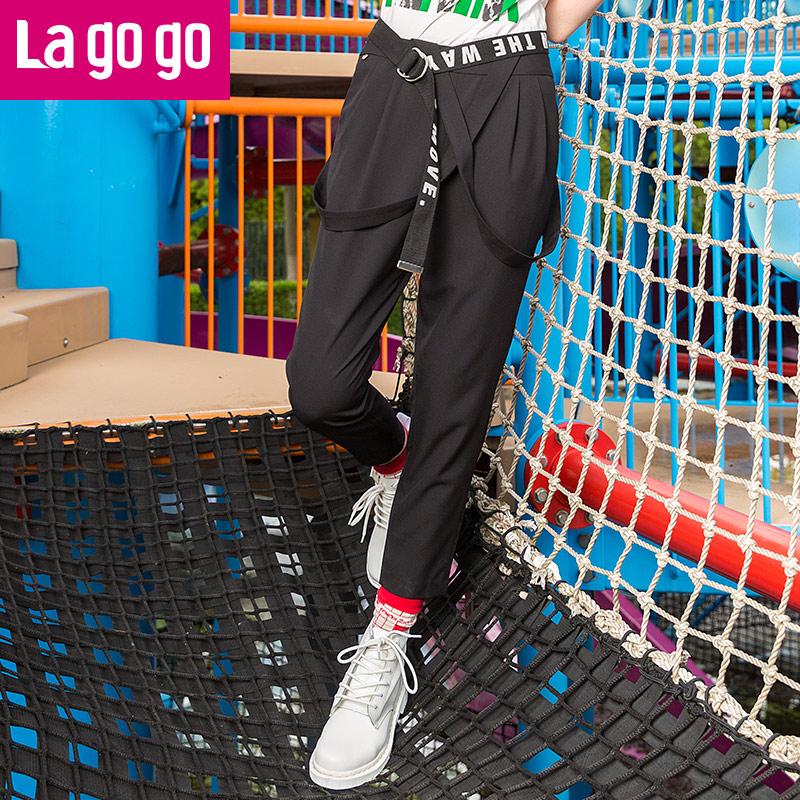 Lagogo/拉谷谷2017年夏季新款时尚口袋纯色休闲背带裤