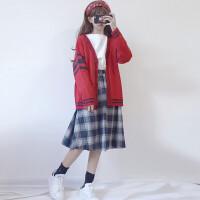 秋冬女装韩版小清新学院风时尚休闲开衫针织衫毛衣外套三件套套装