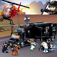 兼容积木拼插儿童玩具男孩拼装积木警察直升机押运车