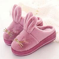 冬季高跟棉拖鞋女可爱卡通厚底防滑室内外居家居防水保暖毛毛棉鞋