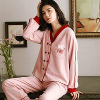 猪年睡衣女秋冬季纯棉长袖套装韩版女士开衫甜美本命年红色家居服