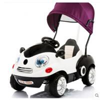 儿童电动车四轮摇摆汽车男女婴儿宝宝可坐遥控玩具车带手推杆早教 玫瑰