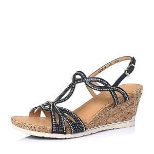 Belle/百丽夏季山羊皮革优雅钻饰知性坡跟女凉鞋3RME4BL6