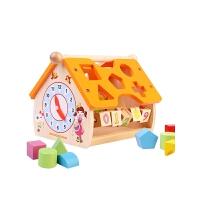 木制智慧屋几何形状配对积木1-2-3周岁宝宝儿童玩具