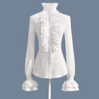 长袖白衬衫女打底雪纺百搭荷叶边小清新甜美上衣可爱衬衣高领木耳 白色 单件衬衫