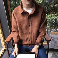 新款2018春装个性裁剪设计男士夹克衫潮男插肩袖纯色宽松外套上衣