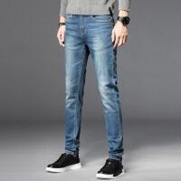 Lee Cooper秋季修身小脚长裤磨白舒适休闲男装复古怀旧男士牛仔裤