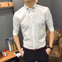 男士短袖衬衫五分袖修身发型师潮流帅气中袖衬衣