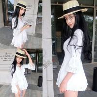 度假泰国潮牌甜美公主短裙夏日系V领收腰喇叭袖显瘦蕾丝连衣裙女