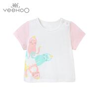 【每满100减50】【直降】英氏女童短袖t恤夏季 婴儿衣服 儿童T恤纯棉上衣172880