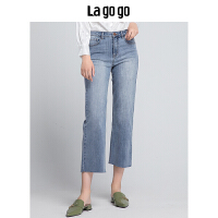 Lagogo2019秋季新款裤子高腰长裤复古剪边阔腿裤宽松时尚牛仔裤女HCNN438A67
