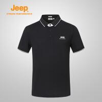【特惠价】Jeep/吉普 男士运动户外舒适透气排汗翻领POLO衫J822094523
