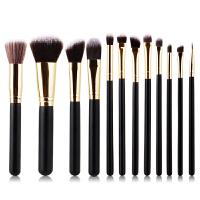 优家(UPLUS)12支黑色系列初学者彩妆全套实用化妆套刷(化妆刷 散粉刷 腮红刷 眉刷 眼线刷 粉底刷)