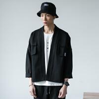 日系潮牌开衫外套男款复古纯色工装夹克中国风设计师款黑