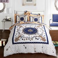 全棉加厚磨毛四件套秋冬保暖纯棉床单被套民族风床上用品 白色 提夫尼
