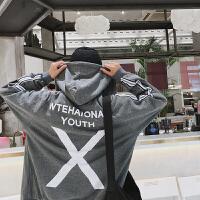 春季时尚男装韩版休闲连帽卫衣后背字母潮流外套青年学生运动开衫