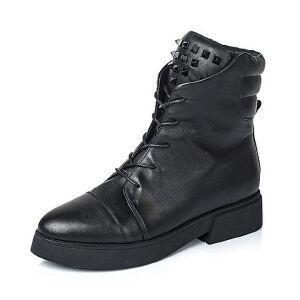 Teenmix/天美意专柜同款黑色牛皮女靴(绒里)AL61HDD5
