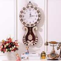欧式挂钟客厅摆钟创意时尚艺术钟表壁挂田园复古装饰静音时钟大号