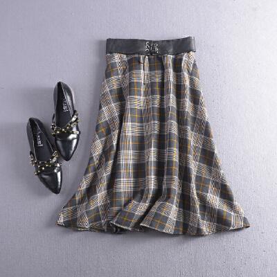 C1FSA04秋冬季韩版新品高腰格子后半松紧腰半身裙 发货周期:一般在付款后2-90天左右发货,具体发货时间请以与客服协商的时间为准
