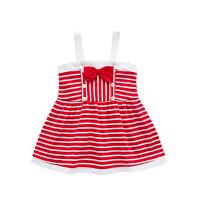 女宝宝吊带连衣裙夏季新款婴儿时尚条纹公主百褶裙