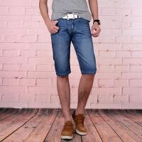 新款2018男士�子夏季年夏直筒修身潮男式牛仔�中�短�男�b潮流