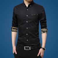 春季男士长袖衬衫青年商务休闲修身白色男寸衫上班职业工装衬衣男