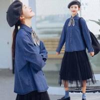 200斤胖mm加肥加大码bf原宿风春季韩版polo领宽松牛仔衬衫外套女