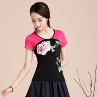 夏装新款 中国风上衣民族风女装拼接短袖T恤女大码弹力印花打底衫