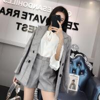 2018春季新款韩版千鸟格西装外套短裤套装女潮