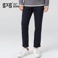gxg.jeans男装冬季藏青色条纹休闲青年休闲松紧系带长裤64602337