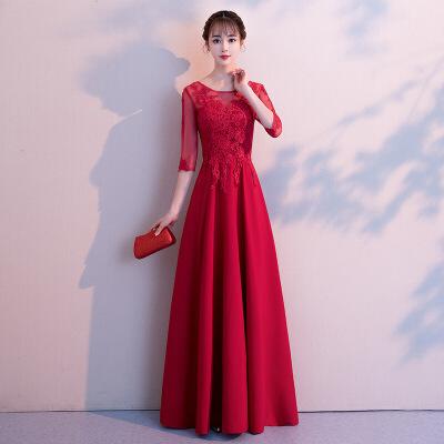 红色敬酒服女2018新款冬季长款结婚晚礼服裙中袖显瘦新娘回门服秋 8198酒红色中腰长款 发货周期:一般在付款后2-90天左右发货,具体发货时间请以与客服协商的时间为准