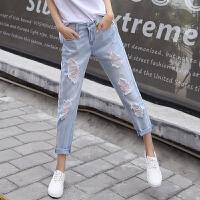 牛仔裤女士夏季浅色薄破洞直筒宽松九分裤卷边显瘦休闲哈伦裤