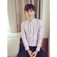 潮男装青年个性彩条纹衬衫男长袖夜店发型师修身圆领衬衣韩版春季