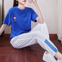 休闲套装女夏季2019新款韩版 时尚宽松短袖棉运动服两件套潮 蓝色上衣+白色裤子