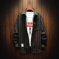 新款男条纹长袖衬衫潮流韩版帅气大码衬衣男式秋装寸衣外套