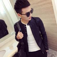 新品18春装新款男式韩版修身纽扣装饰短款皮衣潮流青年立领皮夹克