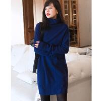 女中长冬季款毛衣宽松欧美高领羊绒衫加厚韩版纯色原创设计羊绒裙