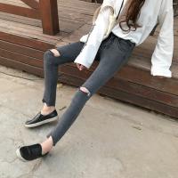 早春新款女装灰色膝盖破洞弹力高腰修身显瘦毛边小脚铅笔牛仔裤女 灰色112