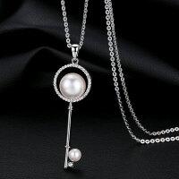 秋冬女装饰项链挂饰品搭配饰品钥匙锁仿珍珠毛衣链