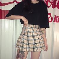 韩国INS同款复古大热格子百褶裙高腰短裙 女款